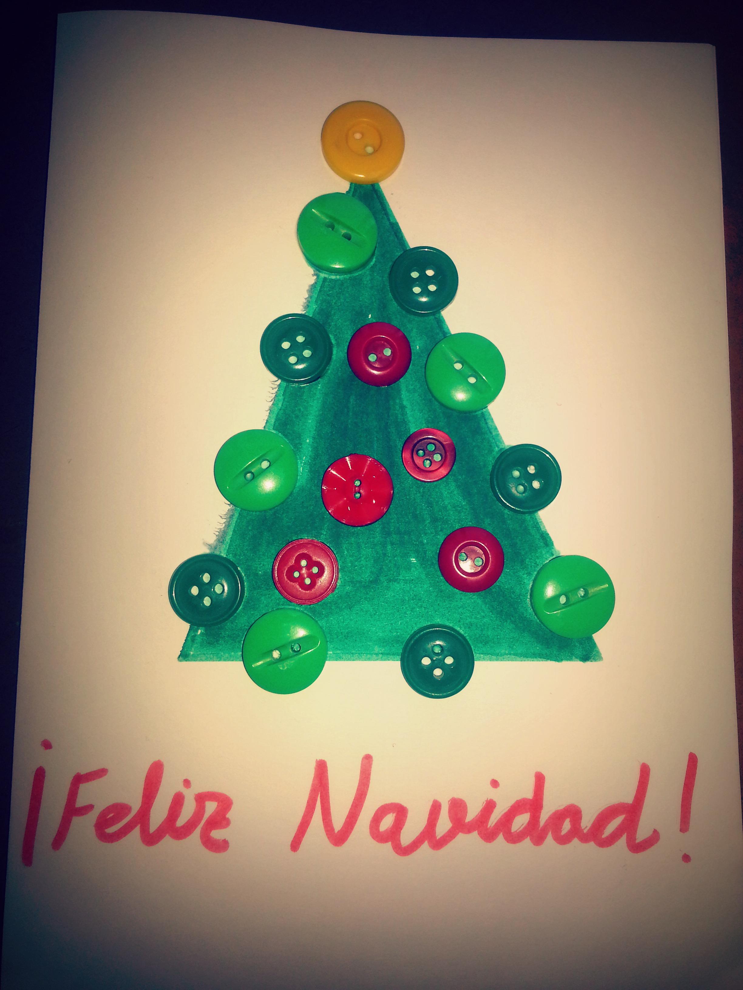 Postales navide as con botones maternidad continuum - Tarjetas de navidad hechas por ninos ...