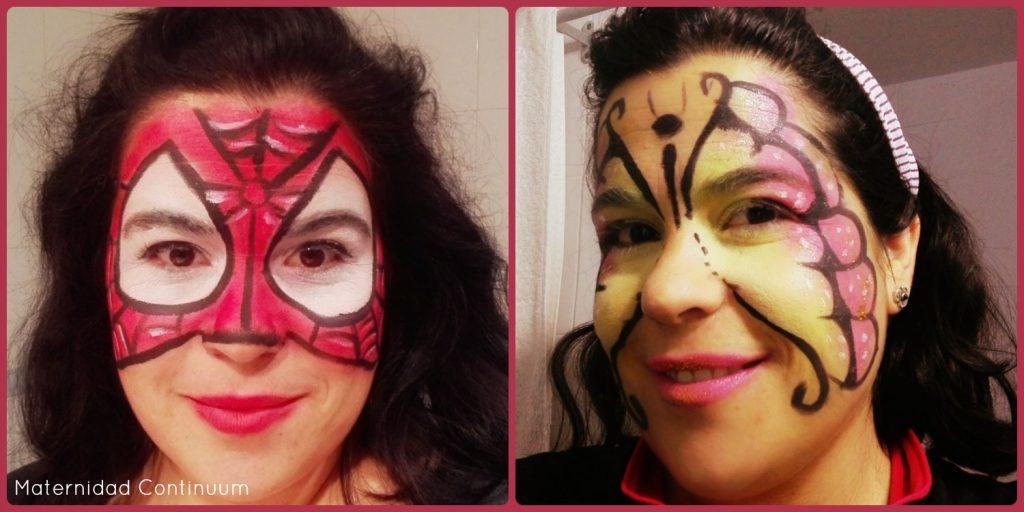 Yo misma como Spiderwoman y Mariposa (cuando mis hijas no me prestan sus caras para maquillar)