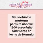 Dar lactancia materna permite ahorrar 1500 euros al año